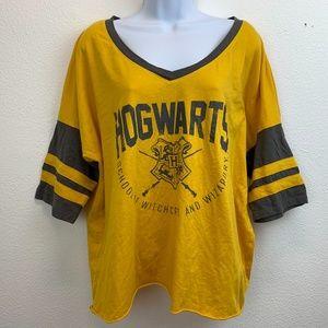 Harry Potter Hogwarts Yellow V-Neck Crop T-Shirt